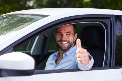 Happy Man driving his car